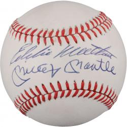 Mickey Mantle and Eddie Mathews Autographed Baseball (JSA LOA)