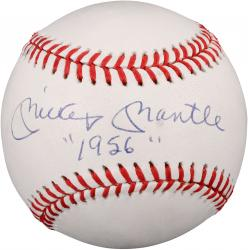 """Mickey Mantle Autographed Basbeall with """"1956"""" Inscription (PSA)"""
