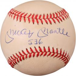 "Mickey Mantle Autographed Baseball with ""536"" Inscription (JSA LOA)"