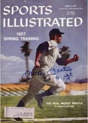 Mickey Mantle New York Yankees Autographed 1957 Sports Illustrated Magazine with 3.1 to 1st Inscription (JSA)
