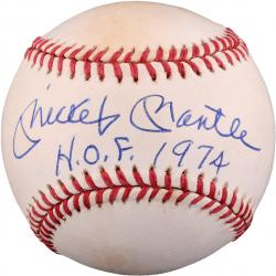 Mickey Mantle New York Yankees Autographed Official American League Bobby Brown Baseball with HOF 1974 Inscription - PSA/DNA