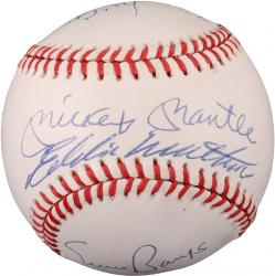 Mickey Mantle, Eddie Matthews, William McCovey, Willie Mays, Ernie Banks Autographed Baseball JSA