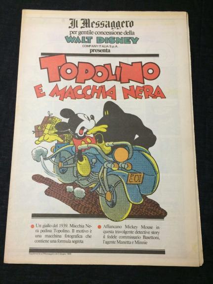 Mickey Mouse Aladdin Lamp Disney Comic Italian Topolino Il Messaggero Newspaper