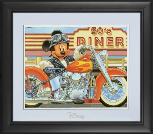 "Mickey Mouse Disney Framed ""Orange Flames and Chrme"" 11"" x 14"" Matted Photo"