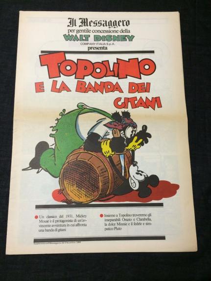 Mickey Mouse Rare Italian Disney Comic Italy Topolino Il Messaggero Newspaper