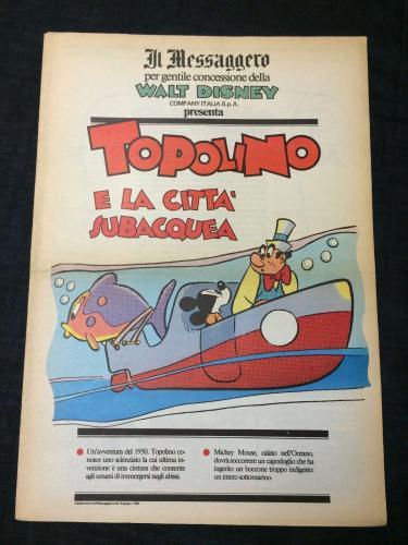 Mickey Mouse Submarine Disney Topolino Comic Italian Il Messaggero Newspaper