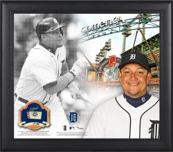 """Miguel Cabrera Detroit Tigers Framed 15"""" x 17"""" Mosaic Collage with Game-Used Baseball-Limited Edition of 99"""