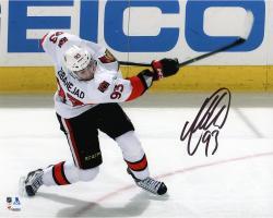 "Mika Zibanejad Ottawa Senators Autographed White Jersey Shooting 8"" x 10"" Photograph"