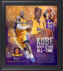 "Kobe Bryant Los Angeles Lakers Third All-Time Scoring 15"" x 17"" Collage with Piece of Team-Used Ball - Limited Edition of 250"