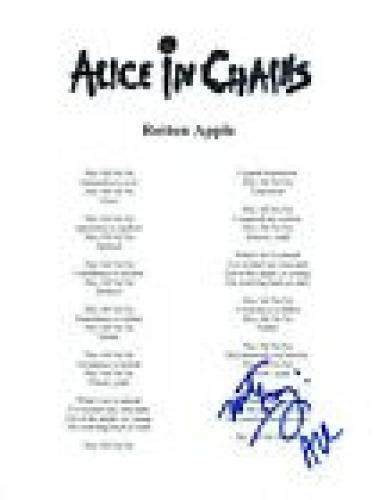 Mike Inez Signed Autographed Alice In Chains ROTTEN APPLE Song Lyric Sheet COA