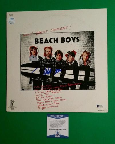 "Mike Love Autographed Beach Boys ""wow, Great Concert"" Lp Album With Bas Coa"