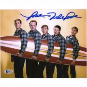 "Mike Love Beach Boys Autographed 8"" x 10"" Holding Surfboard Photograph - BAS"