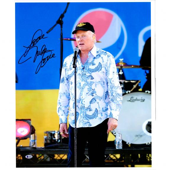 "Mike Love The Beach Boys Autographed 20"" x 24"" Standing at Mic Canvas with ""Love"" Inscription - BAS"