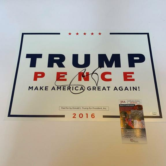 Mike Pence Signed Original 2016 President Donald Trump Campaign Signed JSA COA