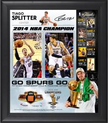 "Tiago Splitter San Antonio Spurs 2014 NBA Finals Champions Framed 15"" x 17"" Collage with 2014 Finals Game-Used Basketball-Limited Edition of 250"