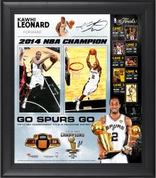 "Kawhi Leonard San Antonio Spurs 2014 NBA Finals Champions Framed 15"" x 17"" Collage with 2014 Finals Game-Used Basketball-Limited Edition of 250"