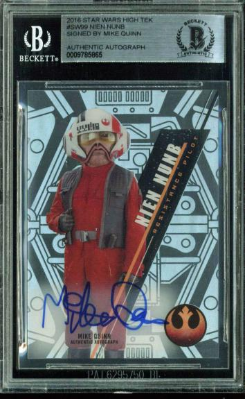 Mike Quinn Signed 2016 Star Wars High Tek #99 Nien Nunb Card BAS Slab
