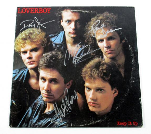 Mike Reno & 3 More Signed Record Album Loverboy Keep It Up 4 AUTOS DF026336