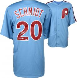 Mike Schmidt Philadelphia Phillies Autographed Majestic Cooperstown Replica Blue Jersey with 80 NL/WS MVP Inscription