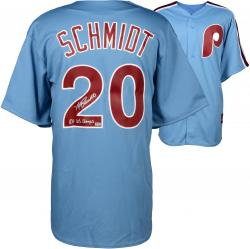 Mike Schmidt Philadelphia Phillies Autographed Majestic Cooperstown Replica Blue Jersey with 80 WS Champs Inscription