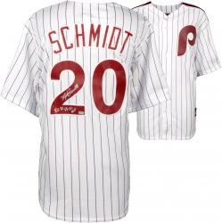 Mike Schmidt Philadelphia Phillies Autographed Majestic Cooperstown Replica White Jersey with 80,81,86 NL MVP Inscription