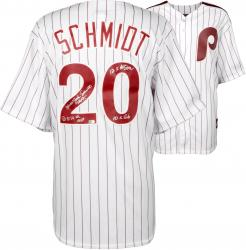 Mike Schmidt Philadelphia Phillies Autographed Majestic Cooperstown Replica White Jersey with Multiple Inscriptions