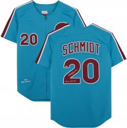 Mike Schmidt Philadelphia Phillies Autographed Mitchell & Ness Authentic Light Blue 1980 Jersey Inscription with 80 NL/MVP Inscription