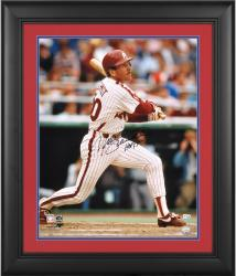"""Mike Schmidt Philadelphia Phillies Framed Autographed 16"""" x 20"""" Looking at Ball Photograph"""