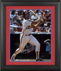 "Mike Schmidt Philadelphia Phillies Framed Autographed 16"" x 20"" White Pinstripes Hitting Photograph"