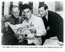 MIKE STOLLER HAND SIGNED 8x10 PHOTO       RARE POSE WITH ELVIS PRESLEY       JSA