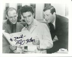 MIKE STOLLER HAND SIGNED 8x10 PHOTO    RARE POSE+ELVIS PRESLEY    TO DAVID   JSA