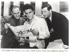 MIKE STOLLER HAND SIGNED 8x10 PHOTO     WITH ELVIS PRESLEY IN 1957       JSA