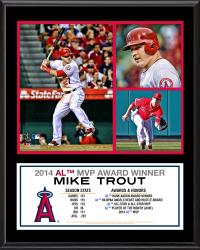 """Mike Trout Los Angeles Angels of Anaheim 2014 American League MVP 12"""" x 15"""" Sublimated Plaque"""