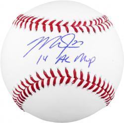 Mike Trout Los Angeles Angels of Anaheim Autographed Baseball with 14 AL MVP Inscription