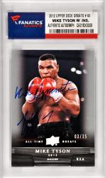 Mike Tyson Boxing Autographed 2012 Upper Deck All Time Greats #93 Card with Kid Dynamite Inscription Limited Edition of 35