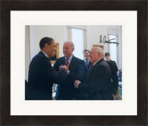 Mikhail Gorbachev autographed 8x10 photo (USSR Leader General Secretary of Soviet Union 1985 to 1991) #SC2 Obama Biden Matted & Framed