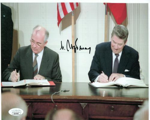 MIKHAIL GORBACHEV HAND SIGNED 8x10 COLOR PHOTO      RARE+RONALD REAGAN       JSA