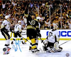 "Milan Lucic Boston Bruins Autographed Celebration Vs. Pittsburgh Penguins 16"" x 20"" Photo"