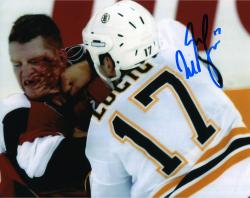 "Milan Lucic Boston Bruins Autographed Fighting with Blood 8"" x 10"" Photo"