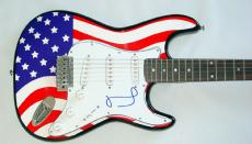 Miley Cyrus Autographed Signed USA Flag Guitar & Proof