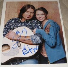 Miley Cyrus Billy Ray Cyrus Signed 11x14 Photo Autograph Hannah Montana Coa A