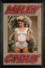"Miley Cyrus Deluxe Framed Autographed 14"" x 19"" Bandana & Teddy Bear Backpack Photograph - PSA/DNA COA"