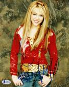 Miley Cyrus Signed 8x10 Photo Retro Authentic Autograph Full Name Beckett Coa B