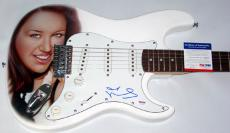 Miley Cyrus Signed Incredible Airbrush Guitar & Proof PSA/DNA
