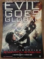 Milla Jovovich Signed 27x40 Original Movie Poster Resident Evil Retribution Psa