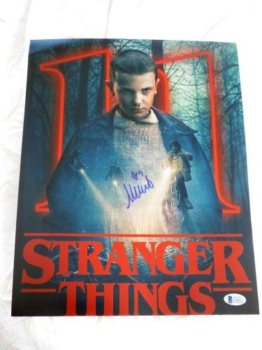 Bobby Brown (Cleveland Browns) Autographed Photo - MILLIE 11x14 STRANGER THINGS ELEVEN BECKETT