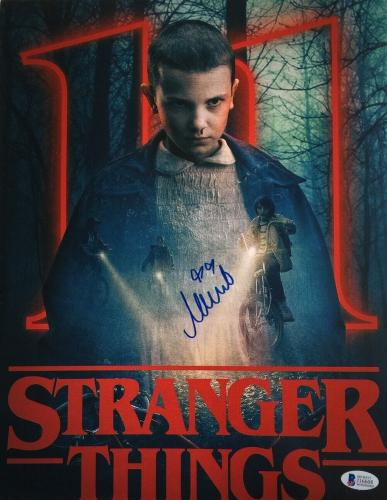 Millie Bobby Brown Signed 11x14 Stranger Things Eleven Photo Beckett BAS