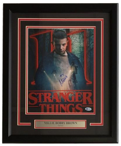 Millie Bobby Brown Signed Framed 11x14 Stranger Things Eleven Photo Beckett BAS