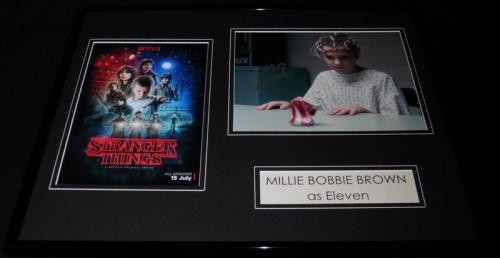 Millie Bobby Brown Signed Framed 16x20 Photo Poster Set Stranger Things Eleven
