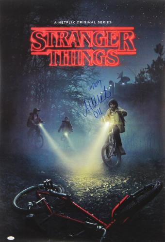 """Millie Bobby Brown Signed Stranger Things Full Size Poster With """"Eleven"""" Inscription - Bikes"""